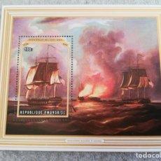 Sellos: HOJA DE BLOQUE RWANDAISE 1976 GUERRA BARCOS ARTE HISTORIA MILITAR CON GOMA. Lote 247529425