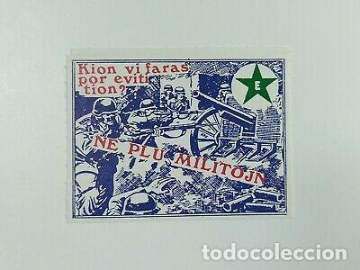 RARA VIÑETA QUE HACES PARA EVITAR GUERRA AÑO 1945 (Sellos - Temáticas - Militar)