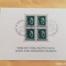 Sellos: HOJA DE BLOQUE ALEMANIA 1937 NAZI HITLER ESVASTICA REICH CON GOMA. Lote 262893130
