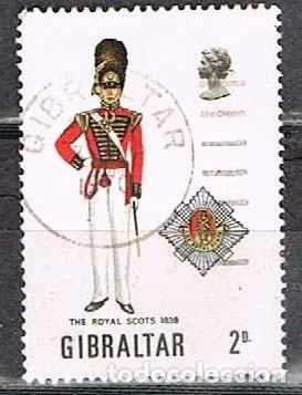 GIBRALTAR 235, UNIFORME MILITAR: ESCOCESES REALES DE 1839, USADO (Sellos - Temáticas - Militar)