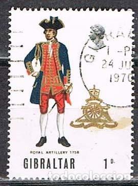 GIBRALTAR 227, UNIFORME MILITAR: ARTILLERIA REAL DE 1726, USADO (Sellos - Temáticas - Militar)