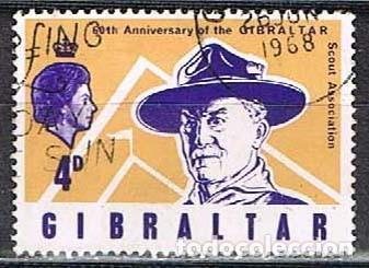 GIBRALTAR 209, 50 ANIVERSARIO DE LOS SCOUT EN GIBRALTAR, BADEN POWELL, USADO (Sellos - Temáticas - Militar)