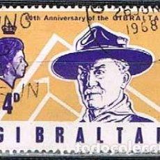 Sellos: GIBRALTAR 209, 50 ANIVERSARIO DE LOS SCOUT EN GIBRALTAR, BADEN POWELL, USADO. Lote 263715635