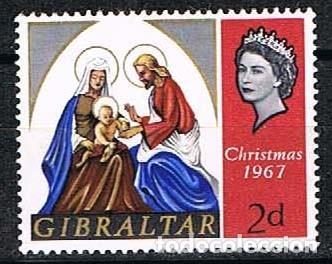 GIBRALTAR 203, NAVIDAD 1967, USADO (Sellos - Temáticas - Militar)