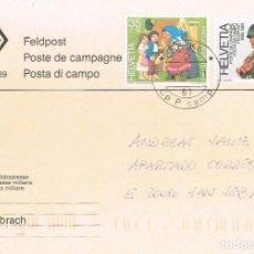 Sellos: SUIZA IVERT N 1314, CENTº DEL CORREO DE CAMPAÑA SUIZO, MATASELLO DEL SERVICIO MILITAR DE CORREO 1995. Lote 267230024