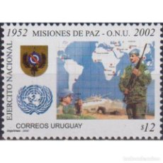 Sellos: ⚡ DISCOUNT URUGUAY 2002 50 YEARS OF PEACEKEEPING MISSION - UN MNH - CARDS, COATS OF ARMS, UN. Lote 268836154