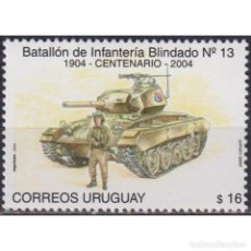 Sellos: ⚡ DISCOUNT URUGUAY 2004 THE 100TH ANNIVERSARY OF THE ARMORED INFANTRY BATTALION MNH - TANKS. Lote 268836344