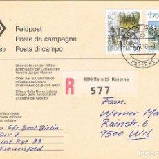 Sellos: SUIZA, CORREO DE CAMPAÑA (MILITAR), MATASELLOS CUARTEL DE BERNA DEL 1-3-1990. Lote 269713883