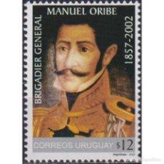Sellos: ⚡ DISCOUNT URUGUAY 2002 THE 145TH ANNIVERSARY OF THE BIRTH OF BRIGADIER GENERAL MANUEL ORIBE. Lote 270389698