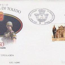 Sellos: EDIFIL 3778, 150 ANIVERSARIO DEL COLEGIO DE INFANTERIA DE TOLEDO, PRIMER DIA DE 16-2-2001. Lote 277048683