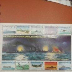 Sellos: HB I. SALOMON NUEVAS/1992/2A/GUERRA/MUNDIAL/50ANIV/BATALLA/GUADALCANAL/AVIONES/BARCOS/MILITAR/FRAGAT. Lote 277830723