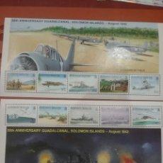 Sellos: HB(2) I. SALOMON NUEVAS/1992/2A/GUERRA/MUNDIAL/50ANIV/BATALLA/GUADALCANAL/AVIONES/BARCOS/MILITAR/FRA. Lote 277831933