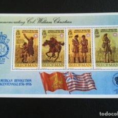 Sellos: HOJA DE BLOQUE SELLOS ISLE OF MAN 1976 AMERICAN REVOLUCIÓN 1776 CON GOMA. Lote 283494923