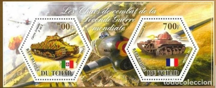 TCHAD 2014 BLOQUE SELLOS TANQUES DE LA SEGUNDA GUERRA MUNDIAL- TANQUE ITALIA - FRANCIA (Sellos - Temáticas - Militar)