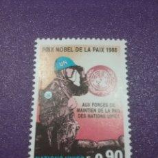 Sellos: SELLO NACIONES UNIDAS (GINEBRA) NUEVO/1989/PREMIO/NOVEL/CASCOS/AZULES/MILITAR/SOLDADO/UNIFORME/ARMA. Lote 288715038