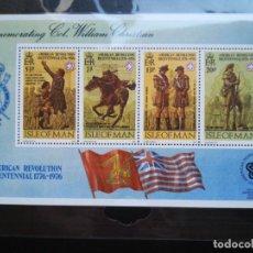 Sellos: HOJA DE BLOQUE SELLOS ISLE OF MAN 1976 AMERICAN REVOLUCIÓN 1776 CON GOMA. Lote 290443528