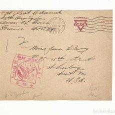 Sellos: FRONTAL CIRCULADA 1919 PARIS USA CON CENSURA MILITAR. Lote 293626888