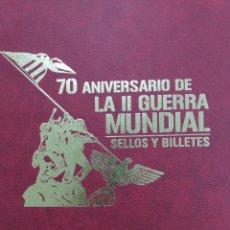 Sellos: LIBRO 70 ANIV. II GUERRA MUNDIAL A TRAVÉS DE SUS SELLOS Y BILLETES, CON 100 REPRODUCCIONES. Lote 293644688
