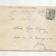 Sellos: CIRCULADA 1943 DE ALCOY A XATIVA JATIVA VALENCIA RODILLO ACEITE DE OLIVA. Lote 294854858