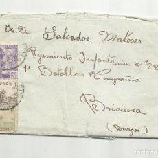 Sellos: CIRCULADA 1942 DE XATIVA JATIVA VALENCIA A BRIVIESCA BURGOS. Lote 294855348