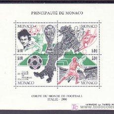 Sellos: MONACO HB 50 SIN CHARNELA, DEPORTE, ITALIA 90, COPA DEL MUNDO DE FUTBOL EN ITALIA,. Lote 130595350