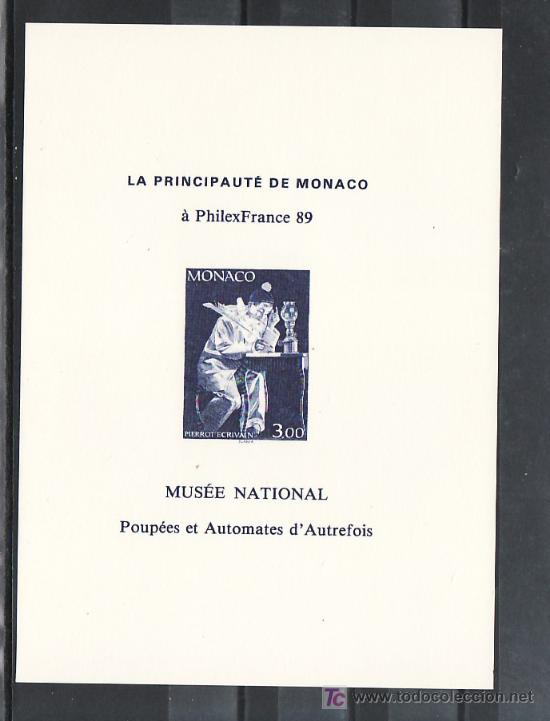 MONACO HOJA RECUERDO SIN CHARNELA, CIRCO, SLANIA, PHILEXFRANCE 89, EXP. FIL. MUNDIAL EN PARIS, (Sellos - Extranjero - Europa - Mónaco)