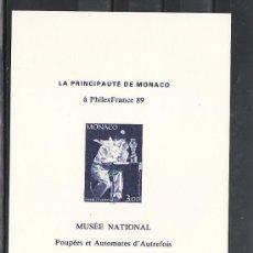 Sellos: MONACO HOJA RECUERDO SIN CHARNELA, CIRCO, SLANIA, PHILEXFRANCE 89, EXP. FIL. MUNDIAL EN PARIS,. Lote 11720329