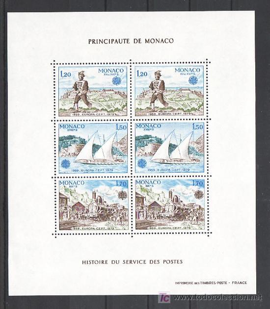 MONACO HB 17 SIN CHARNELA, TEMA EUROPA 1979, BARCO, FF.CC., HISTORIA POSTAL, (Sellos - Extranjero - Europa - Mónaco)