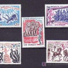 Sellos: MONACO 1167/71 SIN CHARNELA, MUSICA, V FESTIVAL INTERNACIONAL DEL CIRCO DE MONTE-CARLO,. Lote 11464761