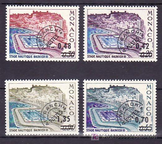 MONACO PRE-OBLITERADO 34/7 SIN CHARNELA, DEPORTE, PISCINA RAINIERO III, SOBRECARGADO, (Sellos - Extranjero - Europa - Mónaco)