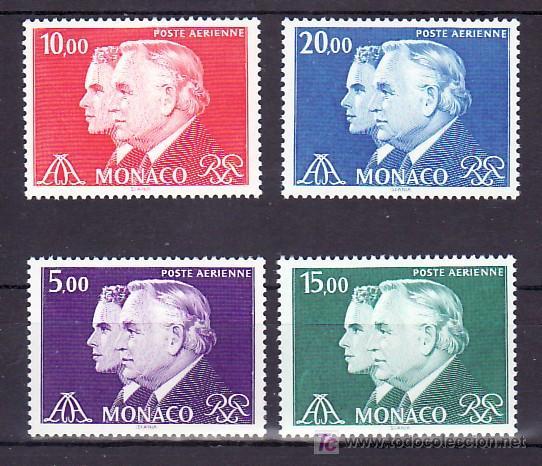 MONACO AEREO 100/3 SIN CHARNELA, PRINCIPES RAINIERO III Y ALBERTO, (Sellos - Extranjero - Europa - Mónaco)