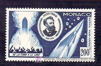 MONACO AEREO 60 CON CHARNELA, 50º ANIVERSARIO MUERTE DE JULIO VERNER, DE LA TIERRA A LA LUNA, (Sellos - Extranjero - Europa - Mónaco)