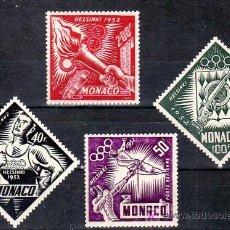 Sellos: MONACO AEREO 51/4 SIN CHARNELA, DEPORTE, JUEGOS OLIMPICOS DE HELSINKI, CORREDOR, TIRO, ESGRIMA, LLA. Lote 11416907