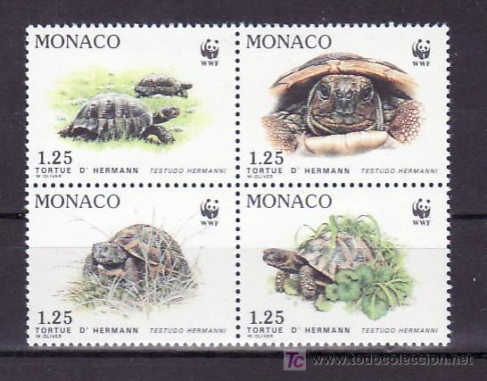 MONACO 1805/8 SIN CHARNELA, PROTECCION NATURALEZA, ESPECIES PROTEGIDAS, TORTUGA, FAUNA, W.W.F. (Sellos - Extranjero - Europa - Mónaco)