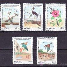 Sellos: MONACO 1754/8 SIN CHARNELA, SIMPOSIO MUNDIAL SOBRE LA MIGRACION DE LOS PAJAROS, AVES, FLORES, . Lote 11425157