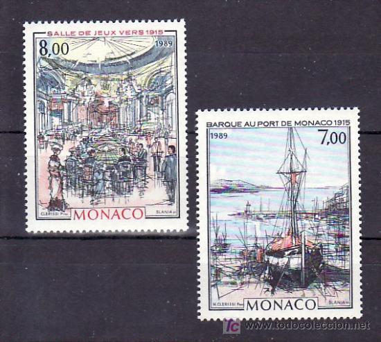 MONACO 1696/7 SIN CHARNELA, PINTURA, BARCO EN PUERTO MONTE-CARLO Y SALA JUEGO CASINO MONACO (Sellos - Extranjero - Europa - Mónaco)