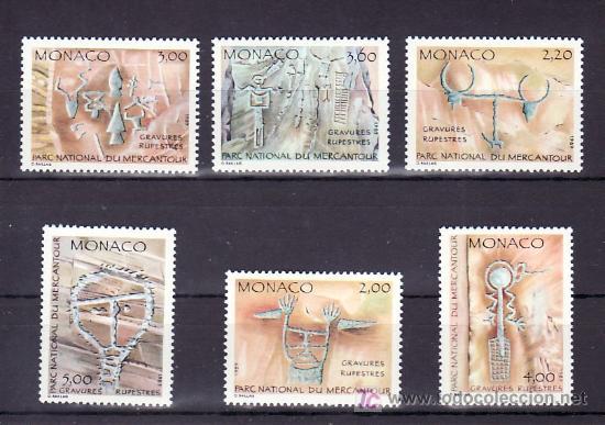 MONACO 1663/8 SIN CHARNELA, INSCRIPCIONES RUPESTRE DEL PARQUE DE MERCANTOUR, (Sellos - Extranjero - Europa - Mónaco)