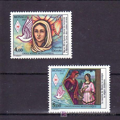 MONACO 1594/5 SIN CHARNELA, CRUZ ROJA DE MONACO, VIDA DE SANTA DEVOTA, PATRONA DE MONACO, AVES, (Sellos - Extranjero - Europa - Mónaco)