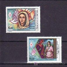 Sellos: MONACO 1594/5 SIN CHARNELA, CRUZ ROJA DE MONACO, VIDA DE SANTA DEVOTA, PATRONA DE MONACO, AVES,. Lote 11427335