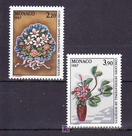 MONACO 1551/2 SIN CHARNELA, 20º CONCURSO INTERNACIONAL DE BOUQUETS EN MONTE-CARLO, RAMOS, FLORES, (Sellos - Extranjero - Europa - Mónaco)