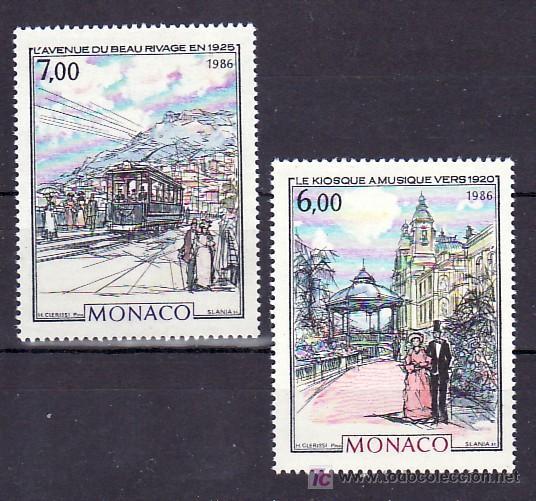 MONACO 1543/4 SIN CHARNELA, PINTURA, KIOSCO DE LA MUSICA, TRANVIA, (Sellos - Extranjero - Europa - Mónaco)