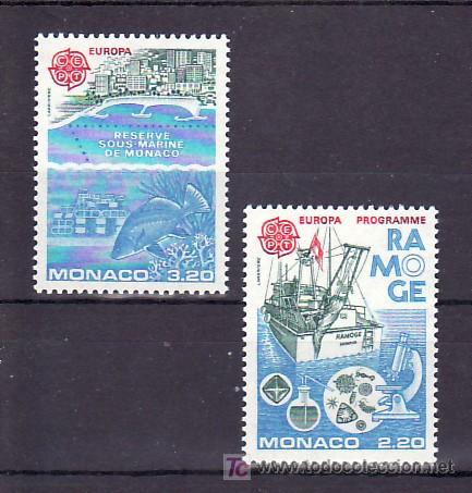 MONACO 1520/1 SIN CHARNELA, TEMA EUROPA 1986, PROTECCION NATURALEZA Y MEDIO AMBIENTE, BARCO, FAUNA (Sellos - Extranjero - Europa - Mónaco)