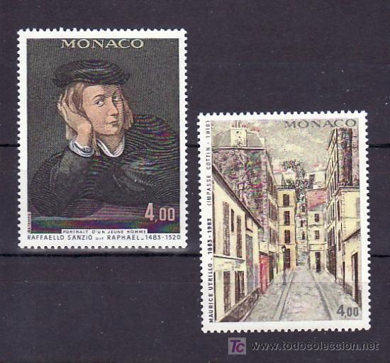 MONACO 1391/2 SIN CHARNELA, LAS ARTES, PINTURA, RAFFAELLO SANZIO, MAURICE UTRILLO (Sellos - Extranjero - Europa - Mónaco)