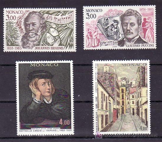 MONACO 1389/92 SIN CHARNELA, MUSICA, BRAHMS, PUCCINI, PINTURA, RAFFAELLO SANZIO, MAURICE UTRILLO (Sellos - Extranjero - Europa - Mónaco)
