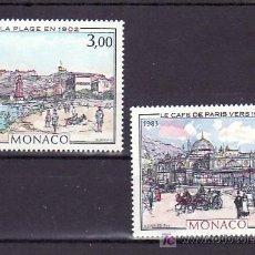 Sellos: MONACO 1385/6 SIN CHARNELA, PINTURA, LAS TERMAS VALENTIA, EL CAFE DE PARIS, . Lote 11455560