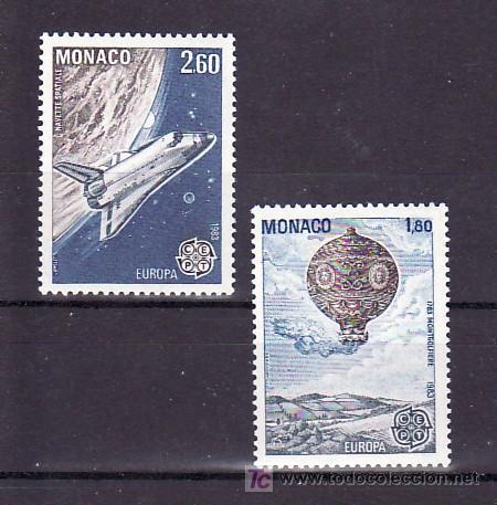 MONACO 1365/6 SIN CHARNELA, TEMA EUROPA 1983, GRANDES OBRAS HUMANIDAD, GLOBO, NAVE ESPACIAL (Sellos - Extranjero - Europa - Mónaco)