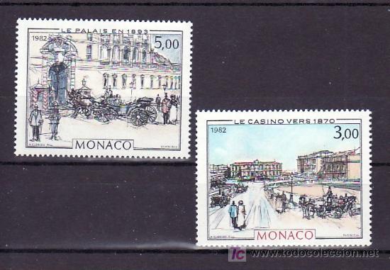 MONACO 1340/1 SIN CHARNELA, PINTURA, CASINO DE MONTE-CARLO, PUERTA DE HONOR DEL PALACIO, (Sellos - Extranjero - Europa - Mónaco)