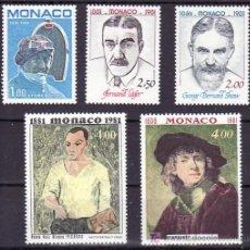 Sellos: MONACO 1290/4 SIN CHARNELA, AUTOMOVIL, LITERATURA, PINTORES, LEGER, PABLO RUIZ PICASSO, REMBRANDT. Lote 11460950