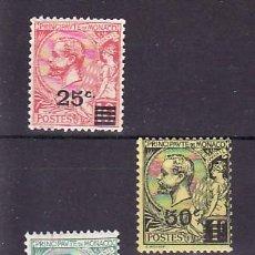 Sellos: MONACO 51/3 SIN CHARNELA, SOBRECARGADO, PRINCIPE ALBERTO I . Lote 11780555