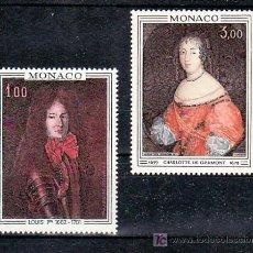 Sellos: MONACO 845/6 SIN CHARNELA, PINTURA, PRINCIPE LUIS I, PRINCESA CHARLOTTE DE GRAMMONT, . Lote 33927377